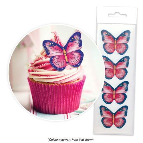 BUTTERFLIES PINK & PURPLE Edible Wafer Cupcake Toppers - 16 piece pack
