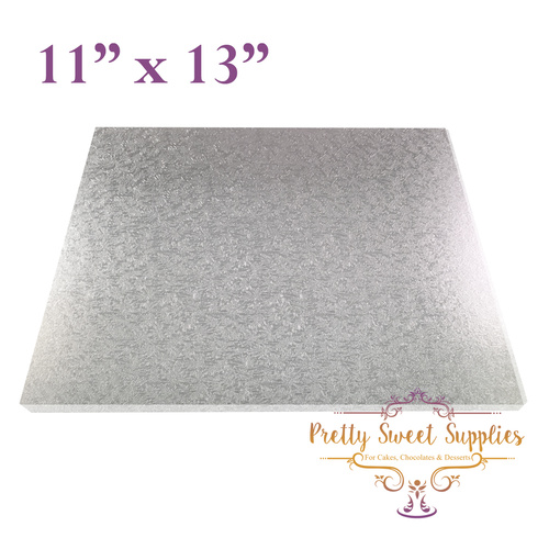 "Cake Board Rectangle MDF 11"" x 13"" SILVER"