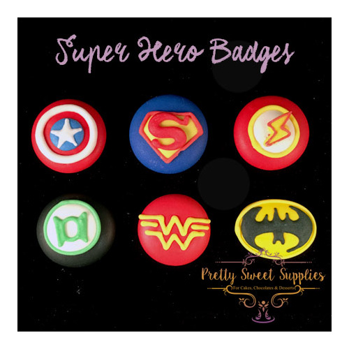 Super Hero Badges - Cupcake Toppers (6pc)