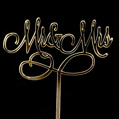 MR & MRS Gold Mirror Acrylic Cake Topper