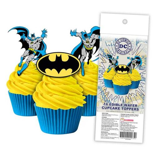 BATMAN Edible Wafer Cupcake Toppers - 16 piece pack