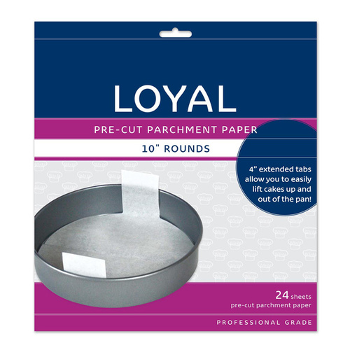 "Pre-cut Baking Paper with Tabs ROUND 10"" (250mm) - 24pc"
