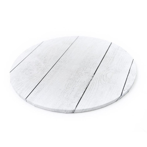White Planks Cake Board Round 14""