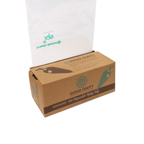 "12"" BIODEGRADABLE Piping Bags - 100 Roll with Dispensing Box"