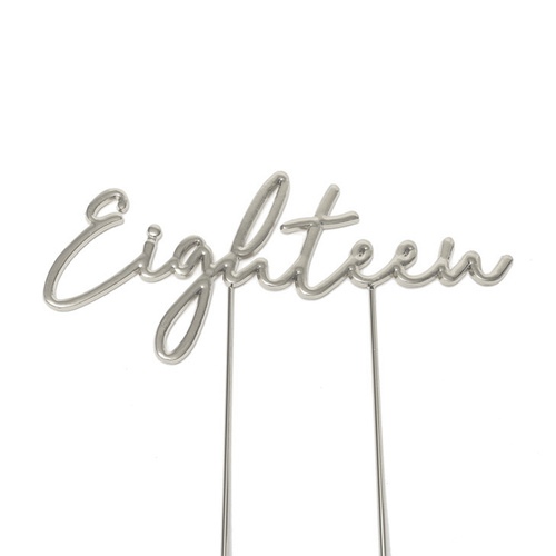 EIGHTEEN SILVER Cake Topper